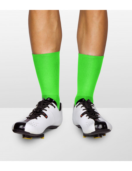 green intensive fiber colors. Fluo cycling socks can make you more visible on the road