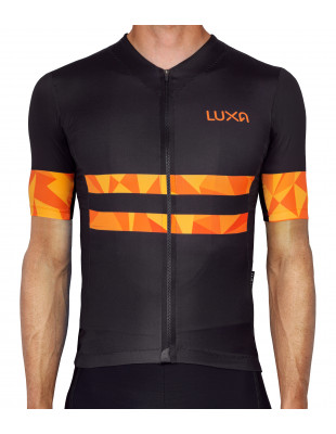eye-catching jersey for cyclists in orange and black color. Made in Poland
