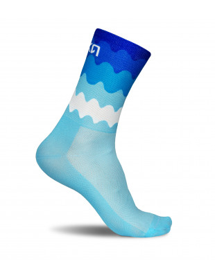 blue ocean waves inspired by nature. Stylish Luxa Tenerife Blue socks for cyclists made in EU.