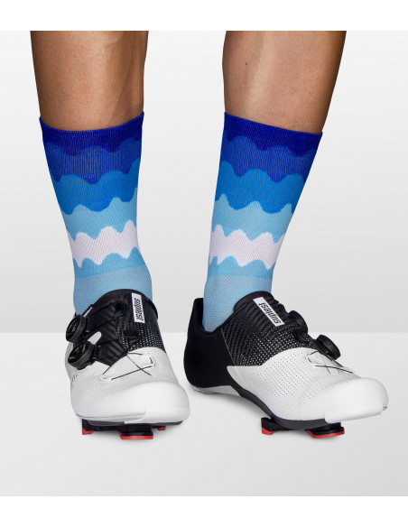 classy socks for road cyclist made by Luxa in Poland. Blue ocean design