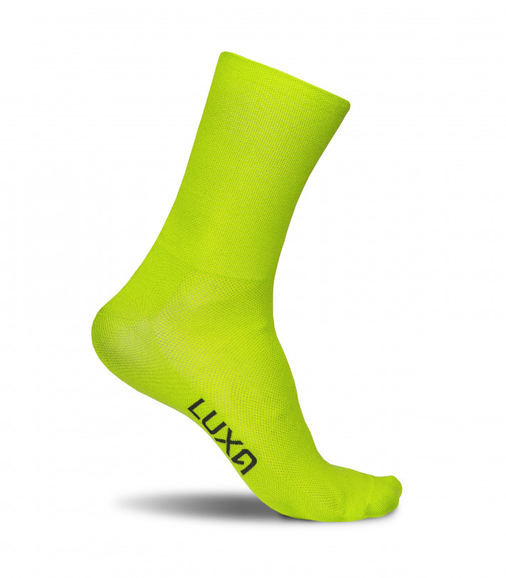 Luxa Classic Canarian lime cycling socks. Unique color and style
