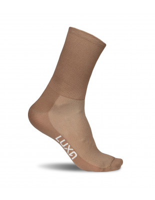 brown cacao cycling socks made in Europe by Luxa