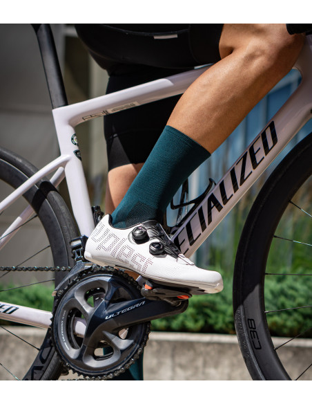 dark green Galaxy cycling socks made in Europe