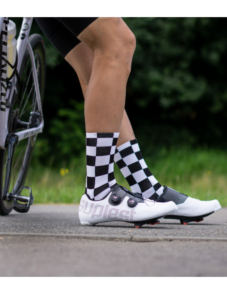 Unconventional style in unique design cycling socks with squares pattern