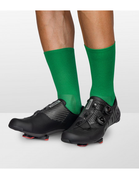 green socks for road cyclist with durable and moisture-wicking fabric