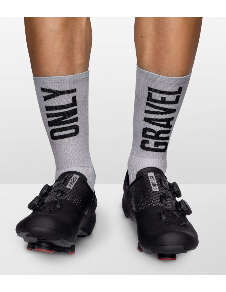 socks for gravel cyclists with 'only gravel' caption on the front and back. Interesting design for cycling fan
