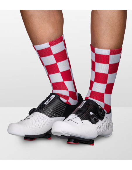 Socks designed with red and white squares pattern on all sock
