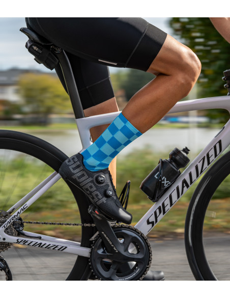 fast road cyclist wear Luxa chequered pattern socks with blue check