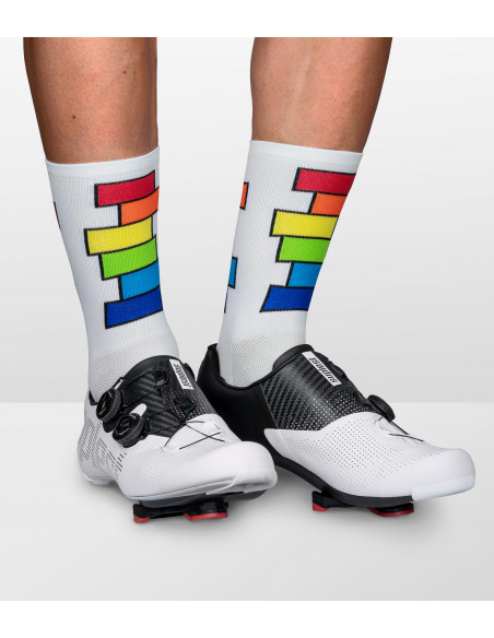 Colorful cycling socks with rainbow color pattern on both sides