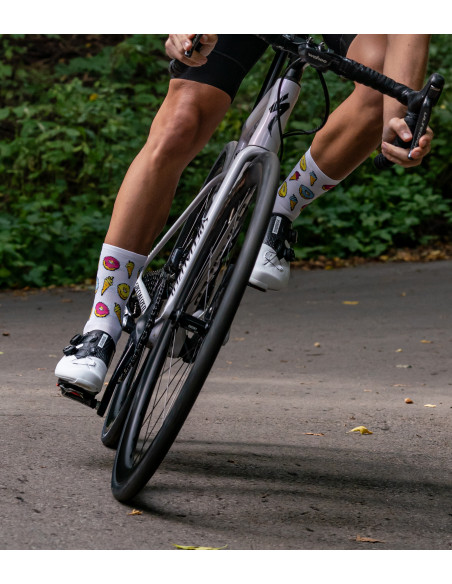 road bike and cyclist wear Luxa donuts socks with cookies and ice cream