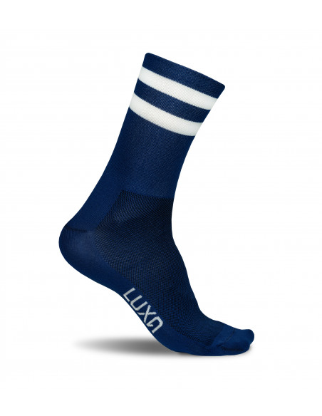 classic look in navy yarn color. Socks for road cyclists in unisex cut