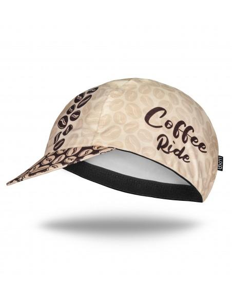 Czapeczka na rower pod kask z napisem 'coffee ride'