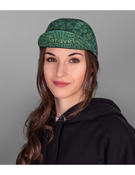 Luxa green gravel cycling cap in unisex cut