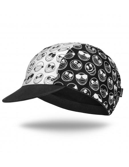 Czarno biała czapeczka dla kolarzy wyprodukowana w europie