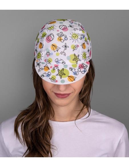 girl wearing funny cycling cap