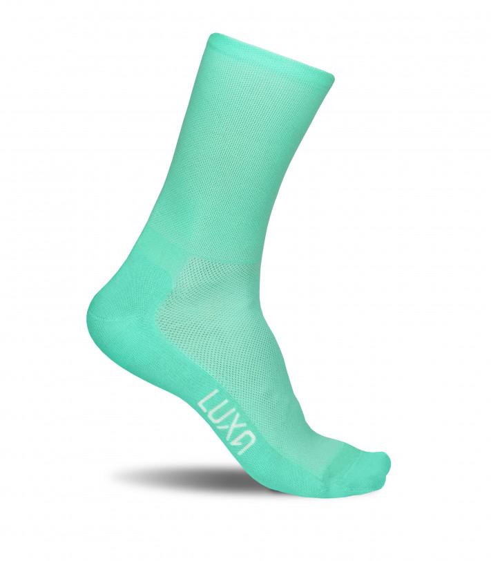 Classic Mint cycling socks in aquamarine color