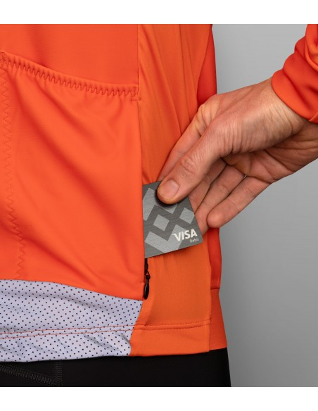 stay safe on the road with orange reflective cycling jersey for autumn and spring rides