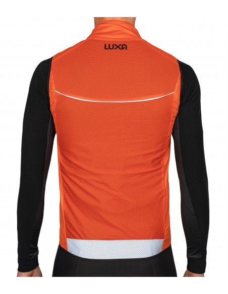 Back of the orange cycling gilet features big reflective elements which improving our visibility at night