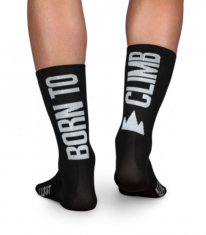 socks for real king of the mountain. Born to Climb black color of Luxa cycling socks