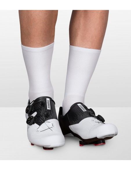 all white front of the luxa beer ride socks