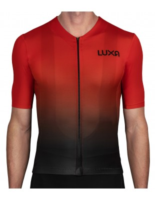 ombre red cycling jersey made in Europe by Luxa