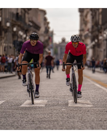 two cyclists riding a few minutes before giro d'italia stage in Catania (edition 2020)