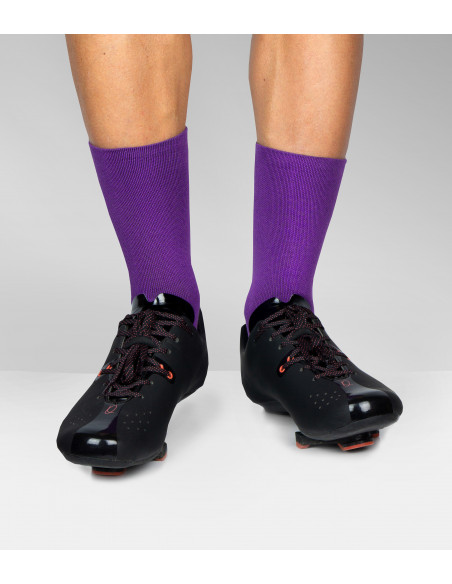 Violet Cycling Socks and cyclist wear Quoc road shoes