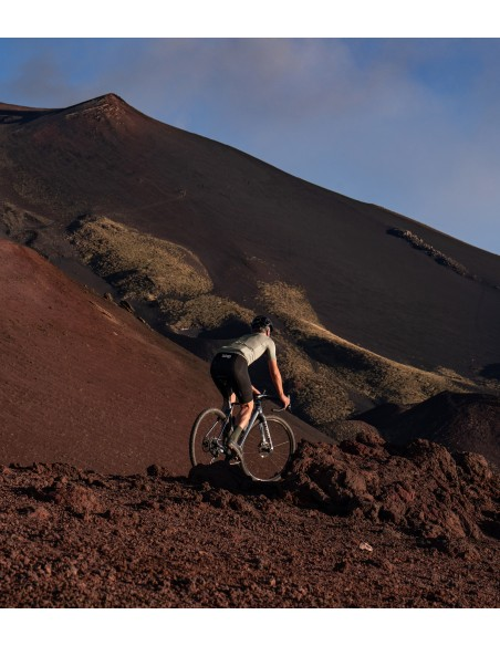 volcanic scenery and nice gravel path for riding in Luxa jersey in olive color