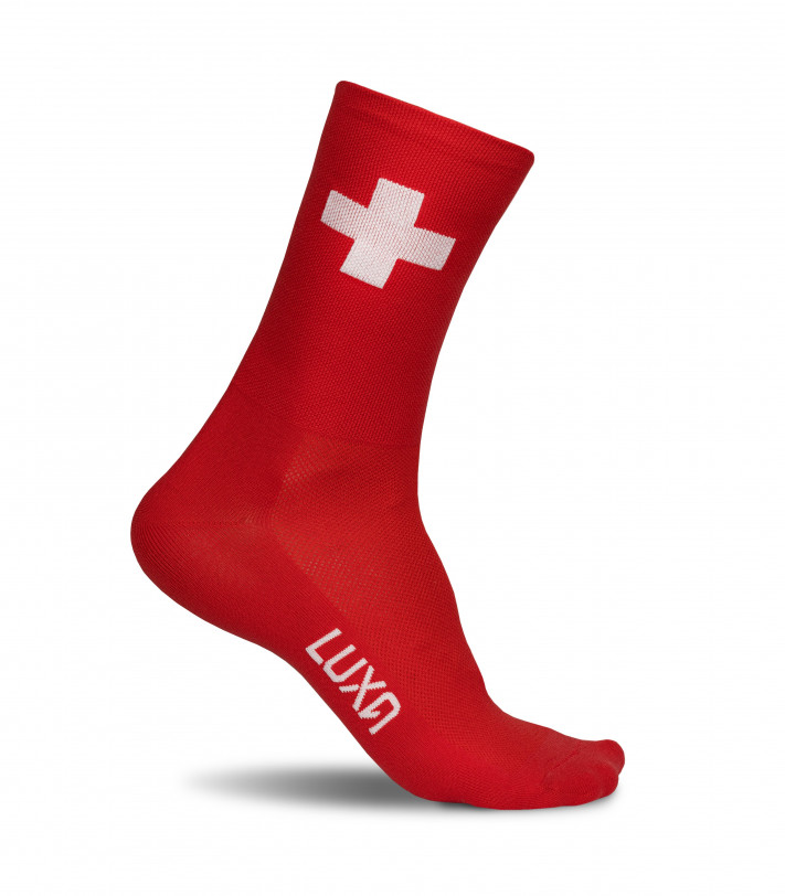 flag of switzerland - cycling socks with countries national colors