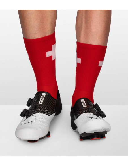 cycling socks inspired by switzerland country flag in national swiss colors