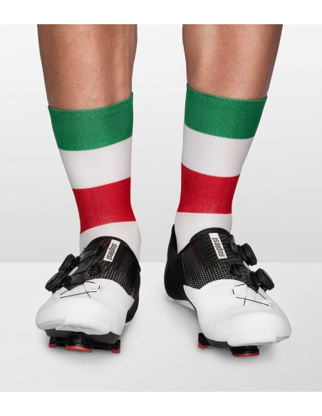 cycling socks inspired by italy country flag in national italian colors