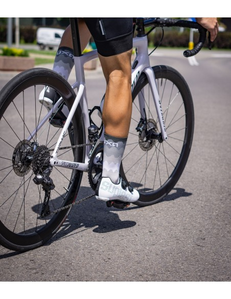 Luxa cycling socks in ocean waves design without colors. Black-white pattern