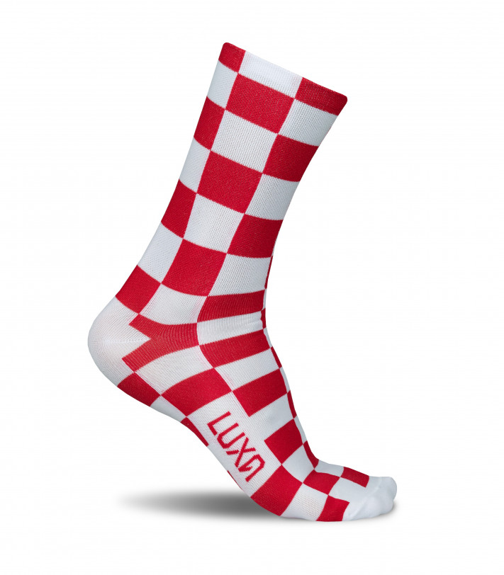 Luxa Red Squares Cycling Socks