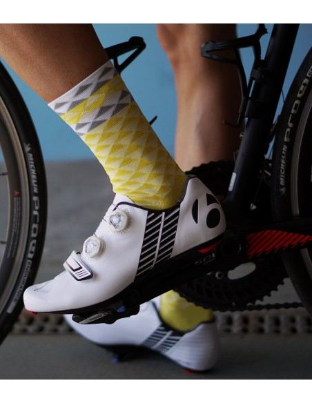 socks designed for cycling in yellow color