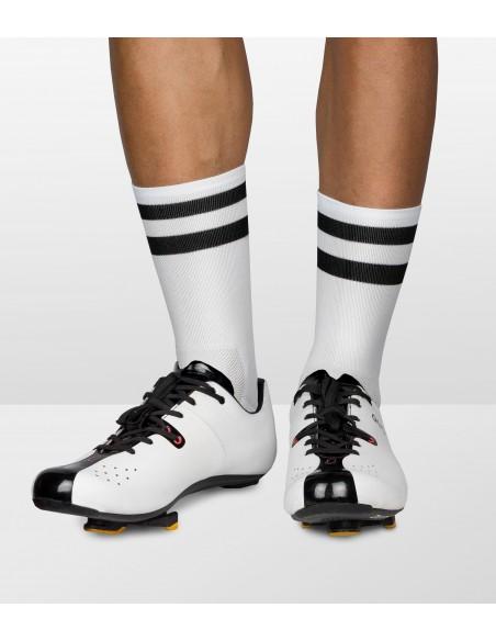 white socks wit back stripes