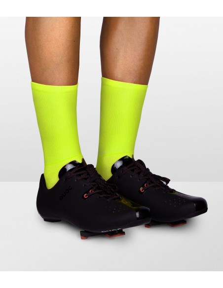 Safety color for road cyclists. Yellow fluo cycling socks made in Poland