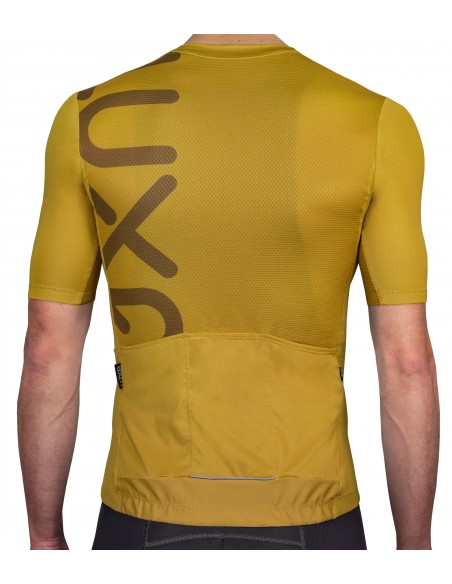 back of the Rising Gold Cycling Jersey made by Luxa in Poland