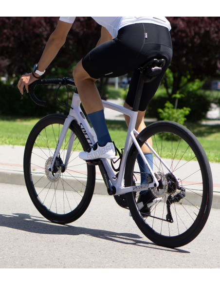 Road cyclist wearing Jeans Luxa Cycling Socks