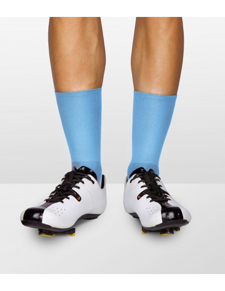bright blue socks combined with Quoc shoes