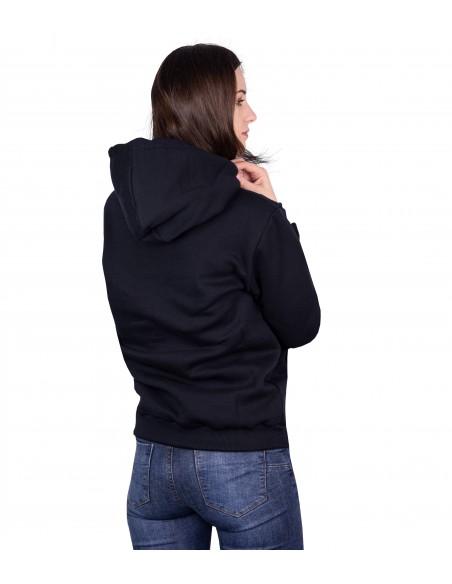 women wearing Luxa Black Hoodie in unisex cut and kangaroo pocket