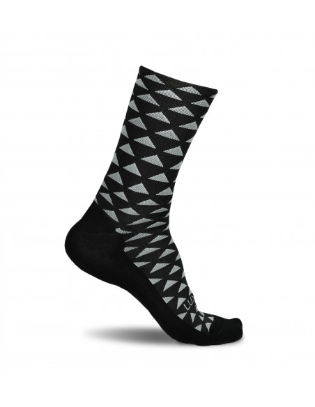 cycling socks in black color with triangle pattern. Made in EU