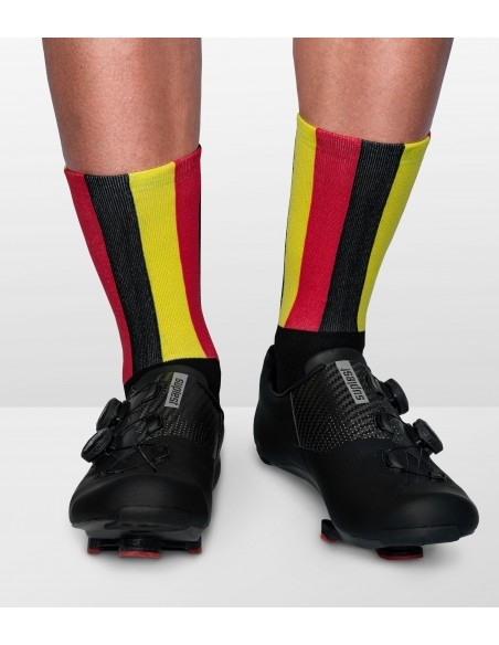 national flag of belgium in socks with 3 colors