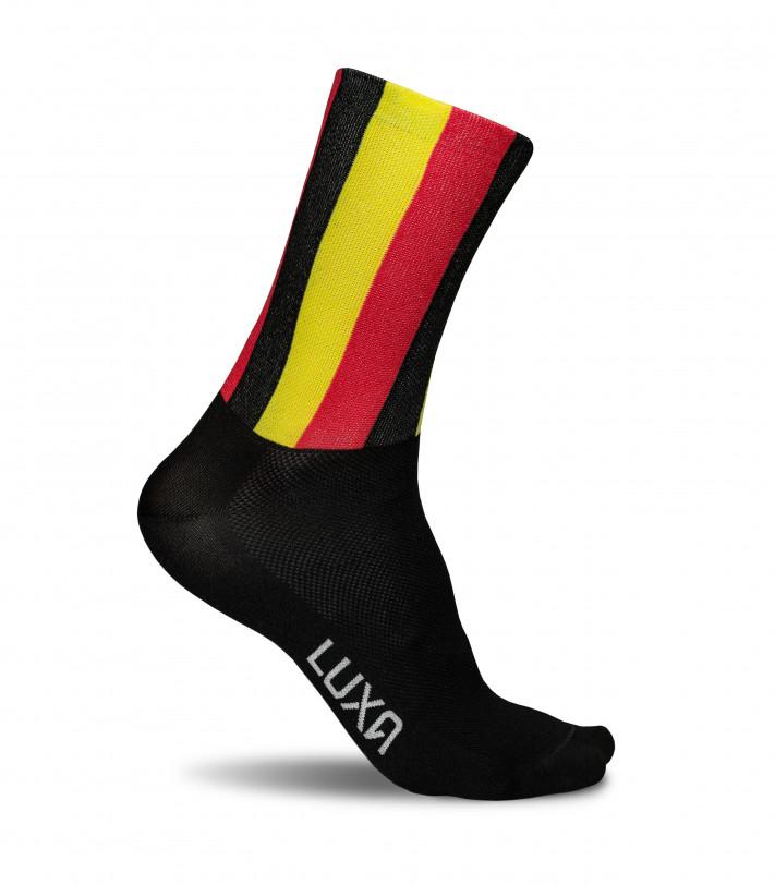 flag of belgium converted into stylish cycling socks