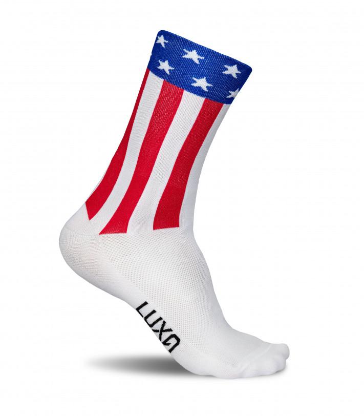 Flag of USA on Luxa national cycling socks