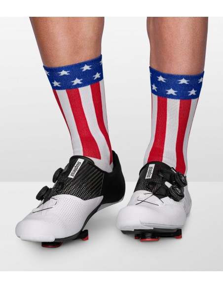Socks designed in United States of America flag colors. Unisex comfortable cut