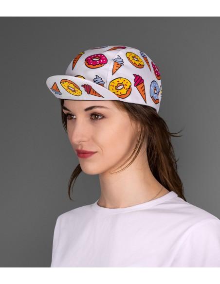 zabawna czapeczka na rower Luxa Donuts uszyta w Polsce dla kobiet i mężczyzn