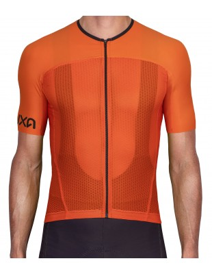 Orange Summer Cycling Jersey - ultralight mesh material for riding in heat