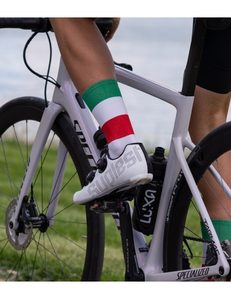 3 colors of italian national flag - green, white, red. Support Italian road cyclists during race