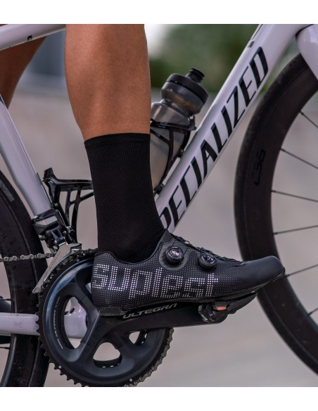 All black yarns from Europe makes this socks stylish and comfortable during cycling