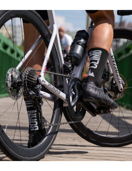 inspired by high mountain passes from cycling grand tours. Born to Climb black version of Luxa Socks